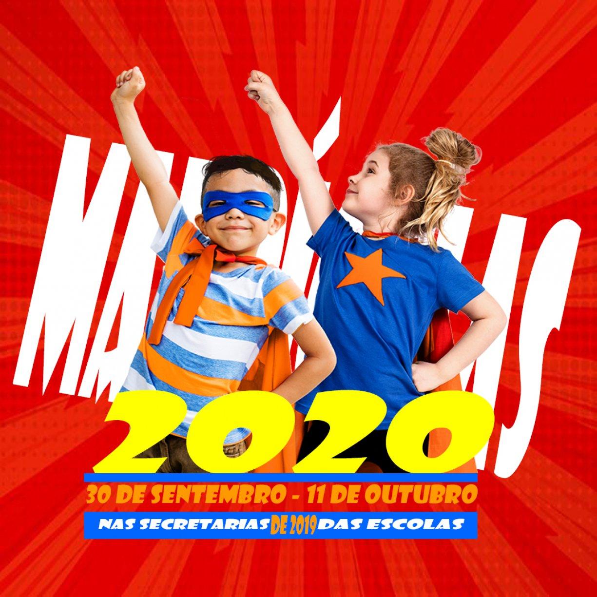 MATRÍCULAS PARA O ANO LETIVO DE 2020